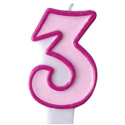 Číslova sviečka 3 ružová, 7cm