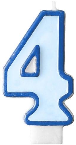 Číslova sviečka 4 modrá, 7cm