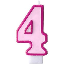 Číslova sviečka 4 ružová, 7cm