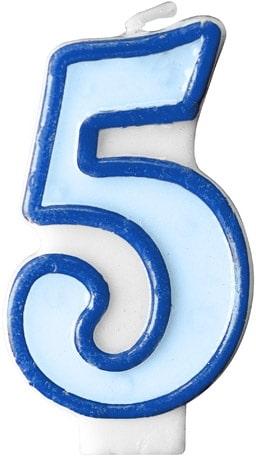 Číslova sviečka 5 modrá, 7cm