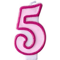 Číslova sviečka 5 ružová, 7cm