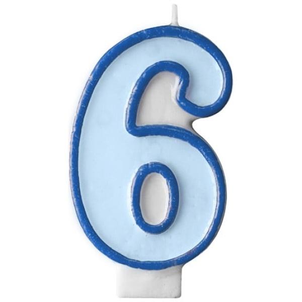 Číslova sviečka 6 modrá, 7cm
