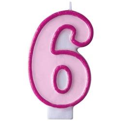 Číslova sviečka 6 ružová, 7cm
