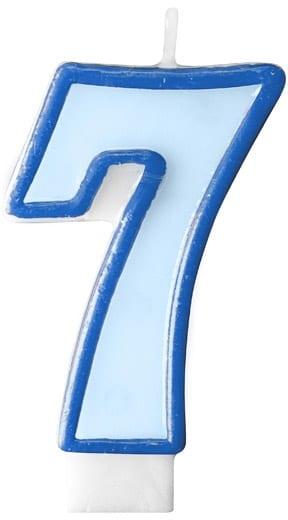 Číslova sviečka 7 modrá, 7cm