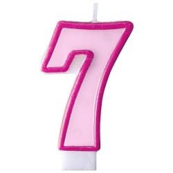 Číslova sviečka 7 ružová, 7cm