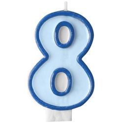 Číslova sviečka 8 modrá, 7cm