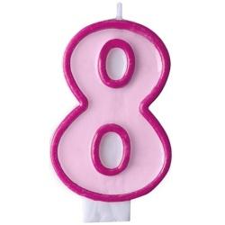 Číslova sviečka 8 ružová, 7cm
