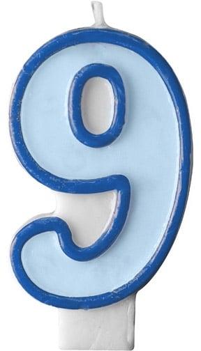 Číslova sviečka 9 modrá, 7cm