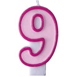 Číslova sviečka 9 ružová, 7cm