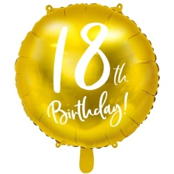 Fóliový balón 18. narodeniny zlatý, 45cm