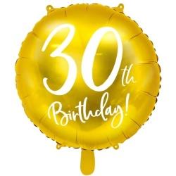 Fóliový balón 30. narodeniny zlatý, 45cm