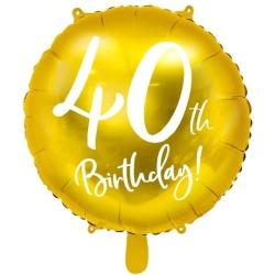 Fóliový balón 40. narodeniny zlatý, 45cm