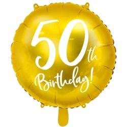 Fóliový balón 50. narodeniny zlatý, 45cm