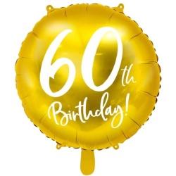 Fóliový balón 60. narodeniny zlatý, 45cm
