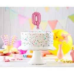 Fóliový balón na tortu číslo 0 ružový, 13cm