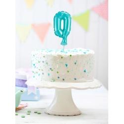 Fóliový balón na tortu číslo 0 tyrkysový, 13cm