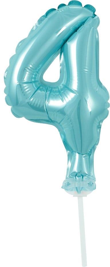 Fóliový balón na tortu číslo 4 tyrkysový, 13cm