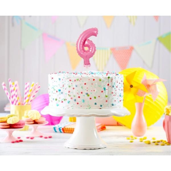 Fóliový balón na tortu číslo 6 ružový, 13cm