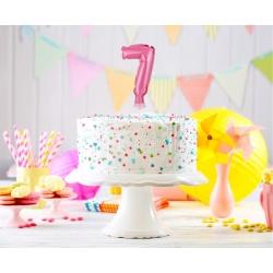 Fóliový balón na tortu číslo 7 ružový, 13cm