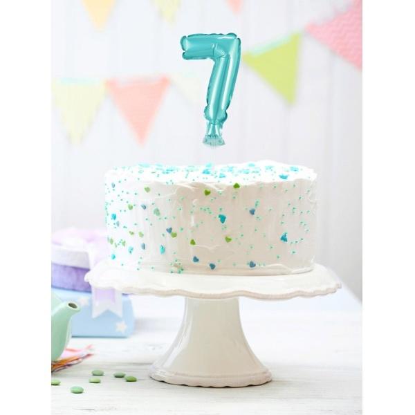 Fóliový balón na tortu číslo 7 tyrkysový, 13cm