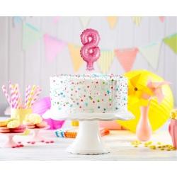 Fóliový balón na tortu číslo 8 ružový, 13cm