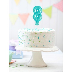 Fóliový balón na tortu číslo 8 tyrkysový, 13cm