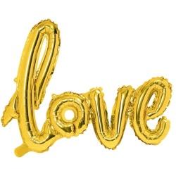 Fóliový balón nápis Love zlatý, 73x59cm