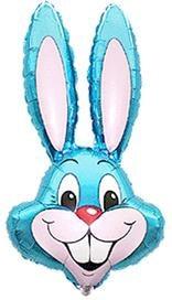 Fóliový balón Zajačik, modrý, 35cm