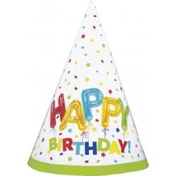Papierové klobúčiky Happy Birthday farebné, 8ks