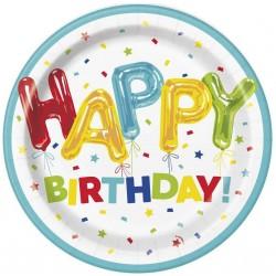 Papierové taniere Happy Birthday farebné, 23cm, 8ks
