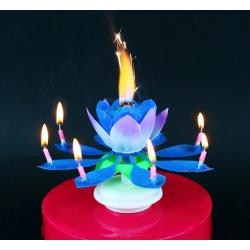 Sviečka hracia, kvet s fontánou, melódia Happy Birthday, modrá