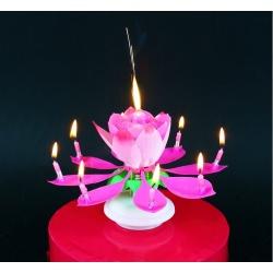 Sviečka hracia, kvet s fontánou, melódia Happy Birthday, ružová