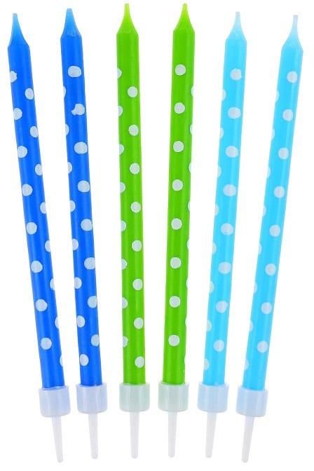 Sviečky na tortu bodkované, modré a zelené, 10cm, 24ks