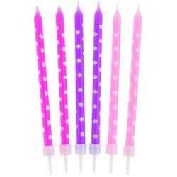 Sviečky na tortu bodkované, ružové a fialové, 10cm, 24ks