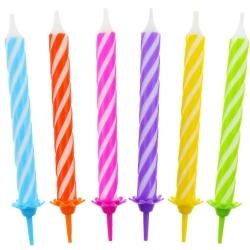 Sviečky na tortu špirálové farebné, 8cm, 12ks