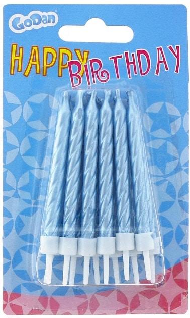 Sviečky na tortu špirálové, modré, 6cm, 12ks