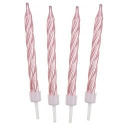 Sviečky na tortu špirálové, ružové, 6cm, 12ks