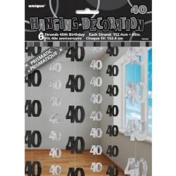 Závesná dekorácia 40. narodeniny, strieborná a čierna, 6ks po 152cm