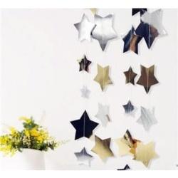 Závesná dekorácia hviezdičky, strieborné a zlaté, 4m
