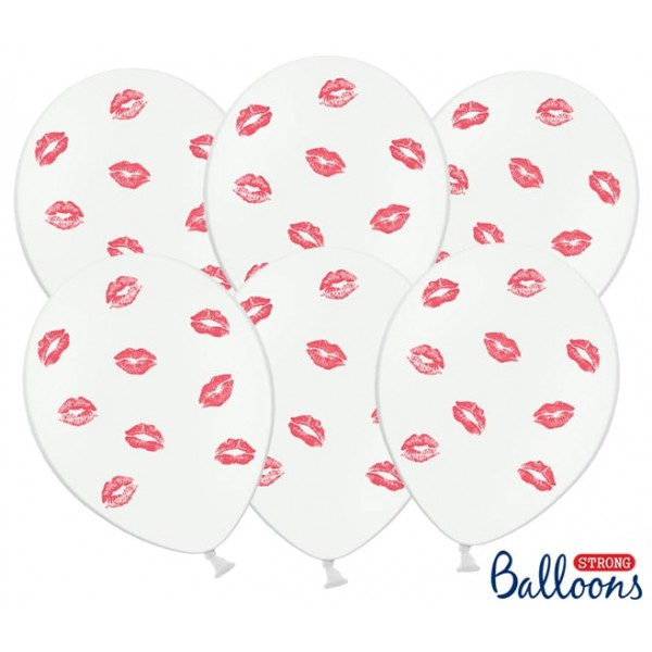 Balón červené bozky biely, 30cm, 1ks