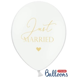 Balón Just Married pastelový biely, 30cm, 1ks