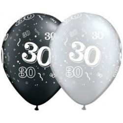 Balón číslo 30 strieborný alebo čierny, 28cm, 1ks