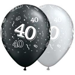 Balón číslo 40 strieborný alebo čierny, 28cm, 1ks