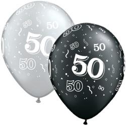 Balón číslo 50 strieborný alebo čierny, 28cm, 1ks