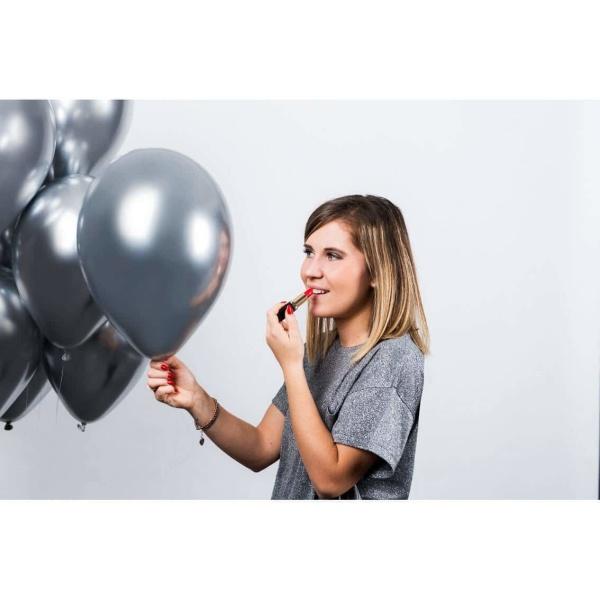 Balóny chrómové strieborné, 33cm, 1ks