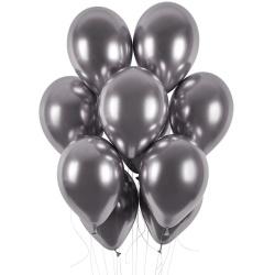 Balóny chrómové strieborné tmavé, 33cm, 1ks