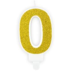 Číslová sviečka 0 zlatá trblietavá, 7cm