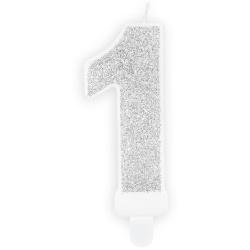 Číslová sviečka 1 strieborná trblietavá, 7cm
