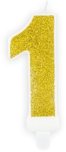 Číslová sviečka 1 zlatá trblietavá, 7cm
