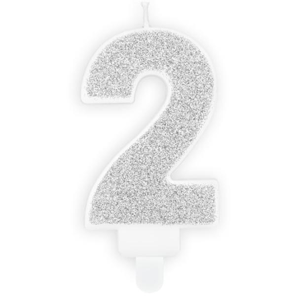 Číslová sviečka 2 strieborná trblietavá, 7cm